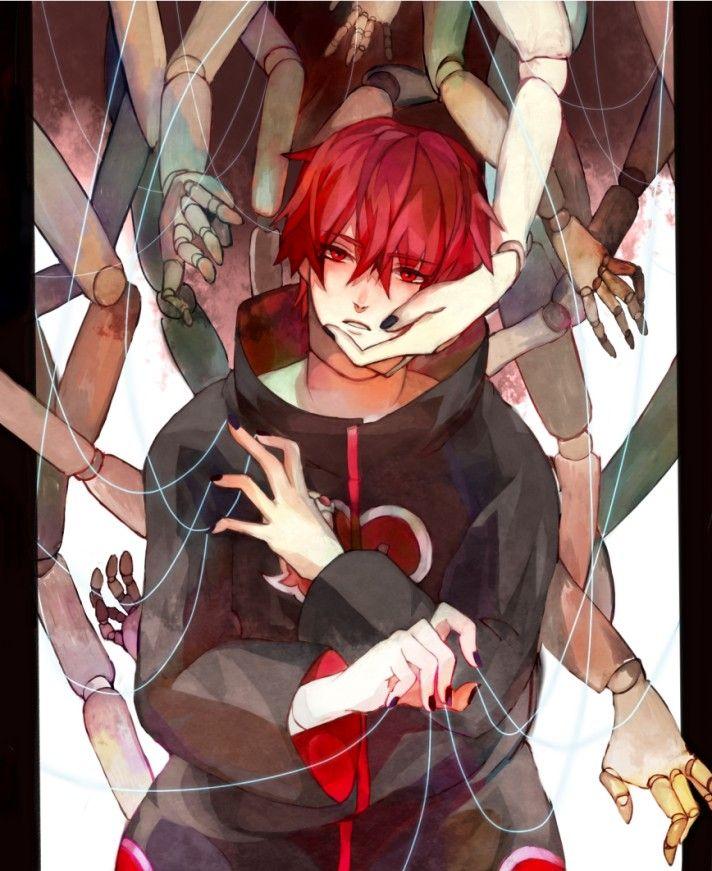 Chara ini bernama Sasori. Bisa ditemui di manga Naruto. Walaupun anggota akatsuki, tapi aku suka, terutama rambut merahnya dan sorot matanya yang sendu.