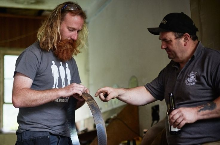 Authentic: Head brewer Simon Wood (left) commissioned master cooper Alastair Simms (right) to build barrels from reclaimed wood. Photo: Emma Guscott