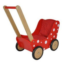 Simply poppenwagen rood stippel