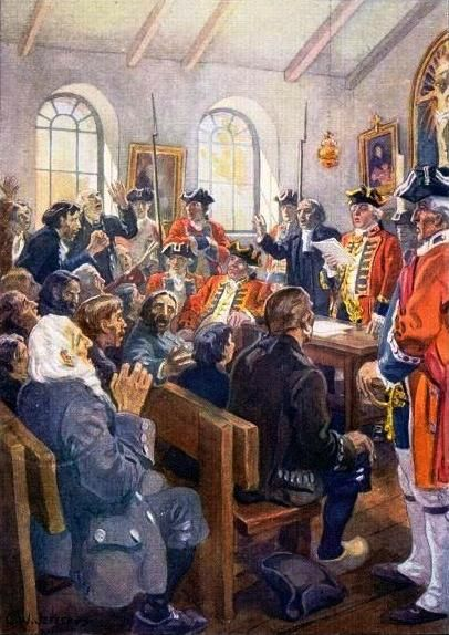 File:Deportation of Acadians order, painting by Jefferys.jpg-Britain gained control of French Canada and Acadia, colonies containing approximately 80,000 primarily French-speaking Roman Catholic residents. The deportation of Acadians beginning in 1755 resulted in land made available to migrants from Europe and the colonies further south.