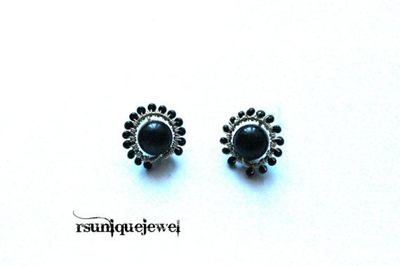 Wire Wrapped Blue Goldstone Post Earrings by rsuniquejewel on Etsy