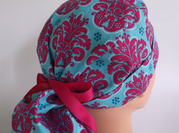 Hot Pink on Turquoise Damask Ponytail ... surgical scrub hats for women ... surgical scrub caps ...scrub hats for nurses on Etsy, $15.95