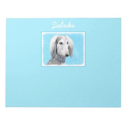 Saluki (Silver) Notepad - drawing sketch design graphic draw personalize