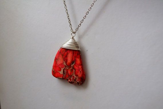 Unique Wire Wrapped Red Stone Pendant Necklace by dgowin on Etsy, $29.00