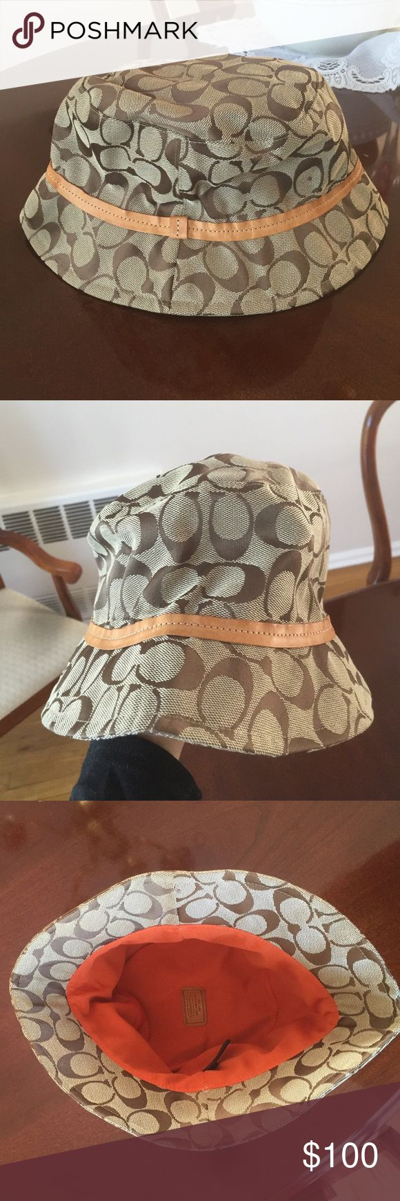 Authentic Coach hat Beautiful authentic  Coach hat. Worn but in excellent condition. Great for a sunny day or the beach Coach Accessories Hats