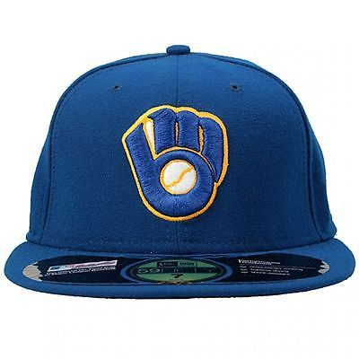 NEW ERA MILWAUKEE BREWERS FITTED HAT MENS NEA-MIL Blue Retro Baseball Cap Size 7