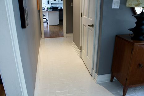 """How to paint ceramic tile. """"We've been here well over fifteen years and I've only touched up the paint once. I don't even have a rug running down this hallway and I've never had to touch up that stretch."""""""