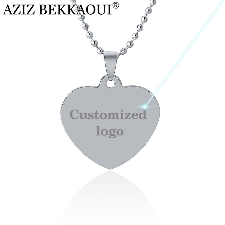 Personalized  Name Dog Tags Pendant Necklace Heart Shape Pendants Stainless Steel  ID Tel Tags Custom Name Necklace Engrave Logo