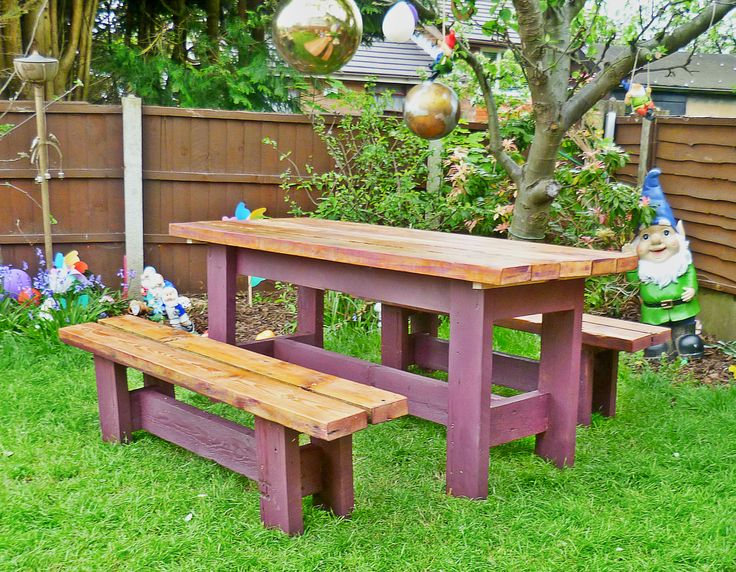 Green Thumb Print | Upcycled Furniture Handmade from Reclaimed Materials A good solid, heavy garden table and benches made from reclaimed roof joists…the timber used has bags of character and is full of knocks and scrapes. The timber is sanded back to a smooth finish to reveal the woods natural