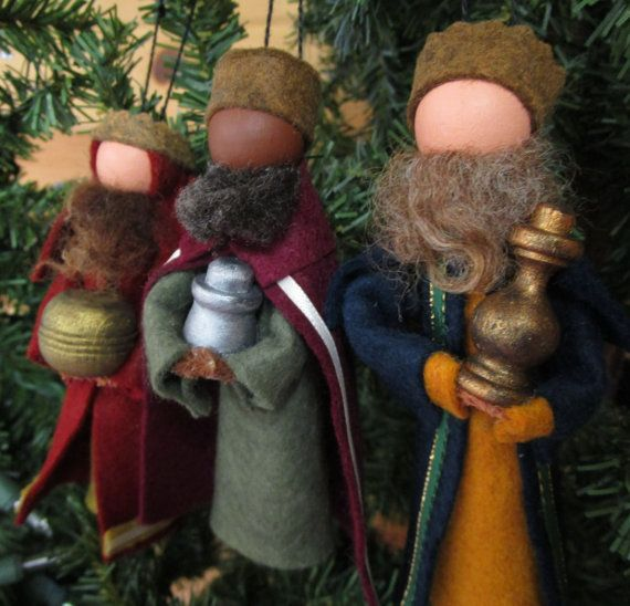 NEW in 2015! ... our Three Wise Men ornament set. Their look is inspired by a merging of biblical artwork and more modern, European sketches.