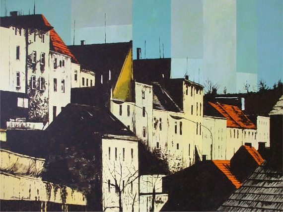 Old Town in afternoon sun,  Acrylic Poster Style, contemporary  wall decor, original painting  by Milena Gawlik