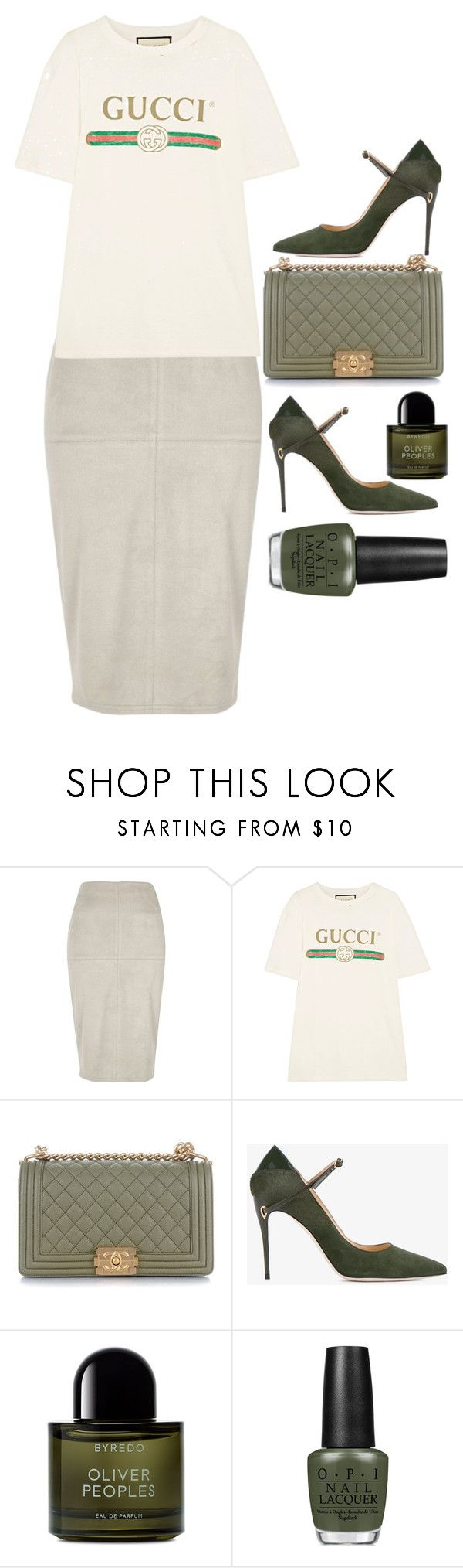"""accidentally basically the same as last lol"" by court-g ❤ liked on Polyvore featuring River Island, Gucci, Chanel, Jennifer Chamandi, Byredo, OPI, olive, Tshirt and guicci"