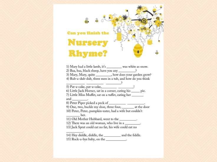 Nursery Rhyme Baby Shower Game Bee ThemeThemed