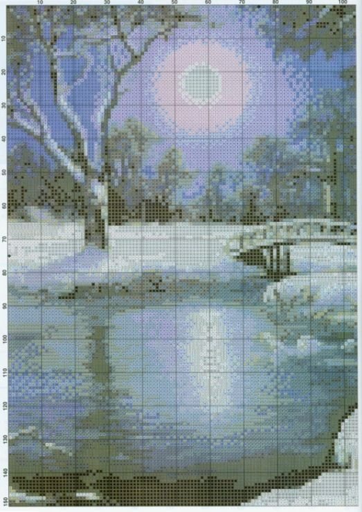 Cross-stitch Winter's Night, part 1.. color chart on part 2...   n2