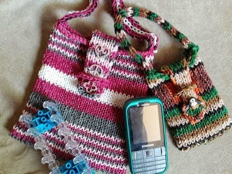A sturdy Rainbow Loom Bag, Totebag, Cellphone case or Purse - tutorial provides instructions for two sizes