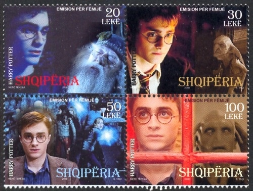 Harry Potter on block of 4. Potter is played by Daniel Radcliffe whose mother is Jewish - Marcia Jeannine Gresham (neé Jacobson). From Albania