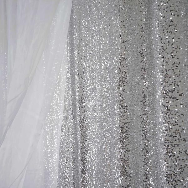 20ft Premium Silver Sequin Backdrop Double Layered With Chiffon