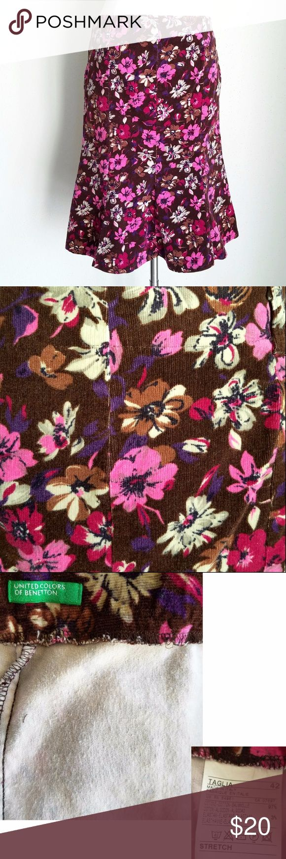 """🆕Benetton BrownPink Floral Corduroy Stretch Skirt Brown stretchy corduroy with flower pattern in pink, purple, ivory, and brown. United Colors of Benetton brand. Trumpet shape is slim through hips and butt with A-line flare on bottom. Belt loops, but no belt included. 97% cotton, 3% elastane.  Gently used condition (outside looks EXCELLENT, no stains, no tears, but interior lining has pilling- see photos)  European size 42 (Medium). Length (waist to hem)- 22"""" (knee length), Waist- 32"""", Hip…"""