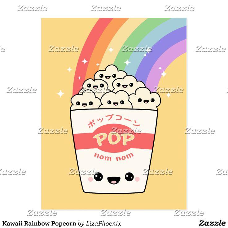 Pipoca do arco-íris de Kawaii Cartão Postal