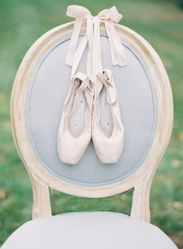 Ballet slippers! http://www.stylemepretty.com/2015/08/22/15-romantic-sophisticated-details-for-a-ballet-inspired-wedding/