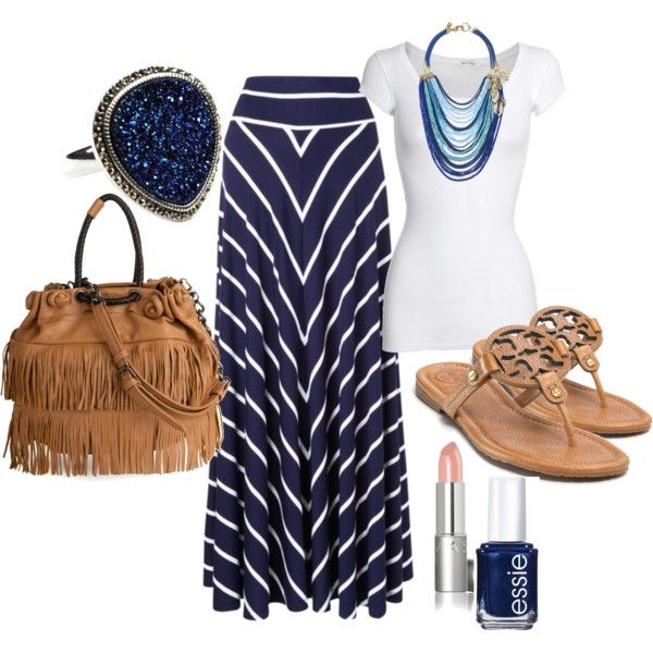 The Navy blues, love the maxi skirt with the chevron pattern