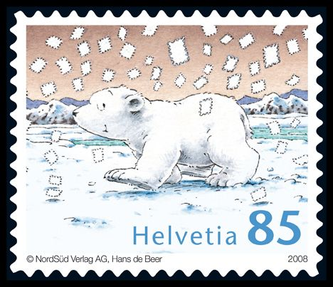 Previous Pinner: Little Polar Bear stamp from Switzerland.  The Little Polar Bear Lars has had a loyal following for more than twenty years. The picture-book character created by Hans de Beer inspired eight books and two films, and the animated cartoon series ran for years on television.