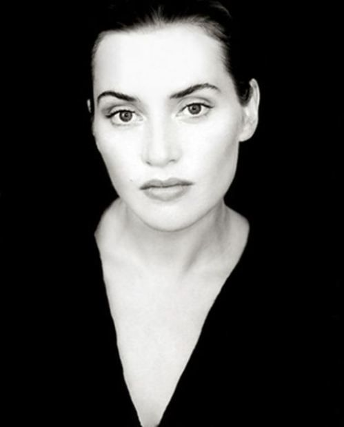 Kate Winslet - try with black paper and white pencil?