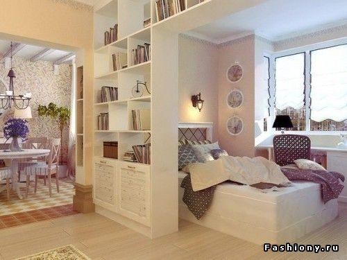 Разделение комнаты на зоны с помощью полок