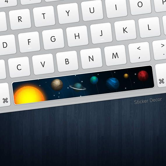 Keyboard Sticker for Spacebar CUSTOM Space Stars Planet