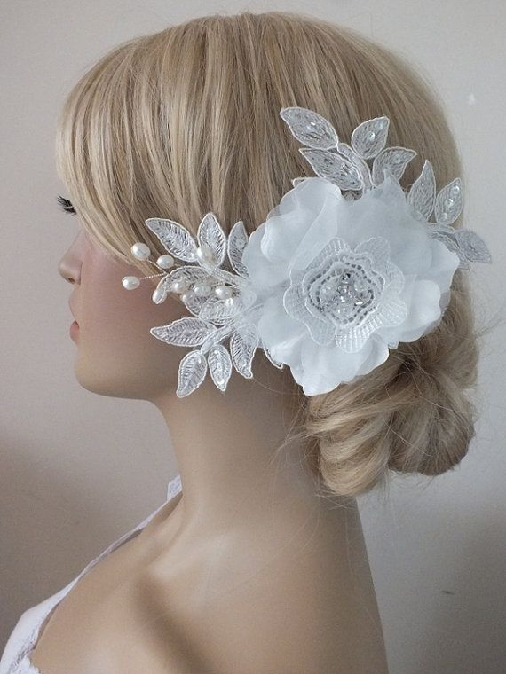 Bridal lace headpiece ivory lace Hairpiece by ByMiracleBridal
