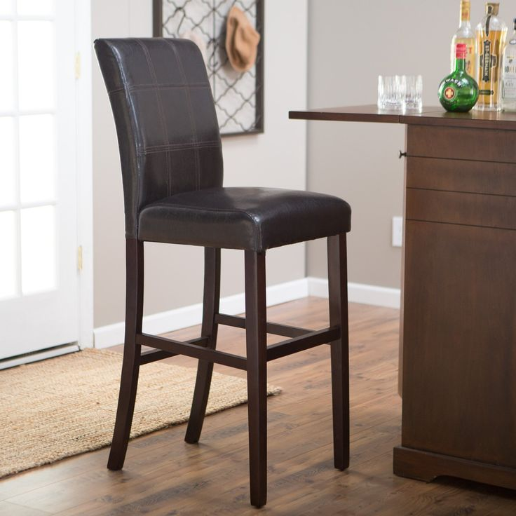 Palazzo 34 Inch Bar Stool - Brown - Beautiful and sleek in espresso brown, the Palazzo 34 Inch Bar Stool - Brown makes a lovely, contemporary addition to your home bar or kitchen...