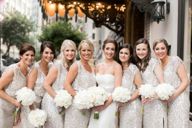 Elegant New Orleans Wedding at The Roosevelt, LA  We're loving all the sparkles on these bridesmaids!   Photographer:  Arte De Vie