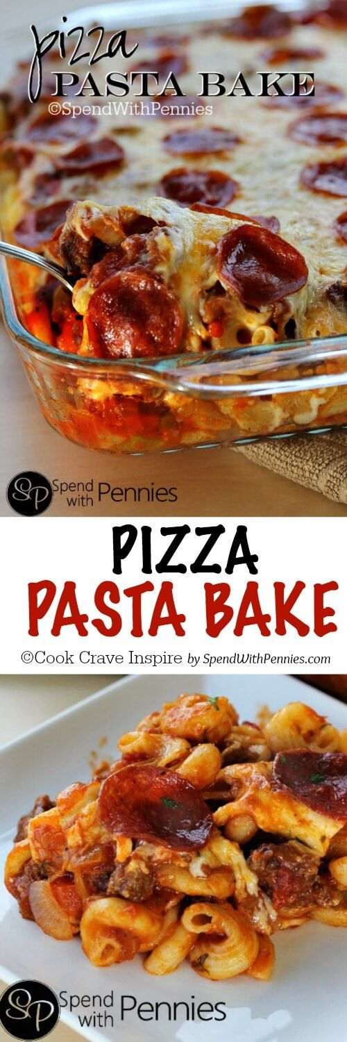 Food and Drink. Pizza Pasta Bake! This easy cheesy dish layers up pasta with a zesty fully loaded sauce & tons of gooey cheese!