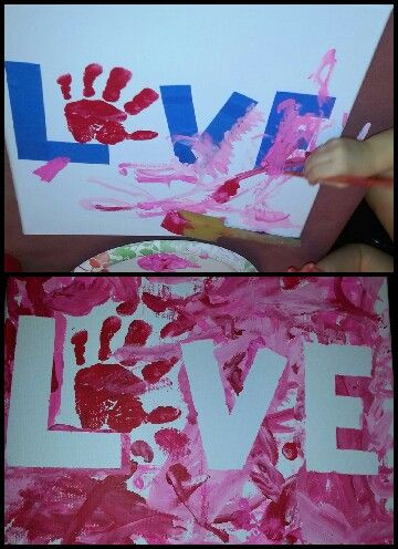 Valentine's Day project for toddlers- use painters tape on a canvas and have your toddler paint away.  Frame it for your house.
