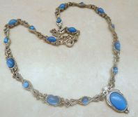 Vintage Miracle Celtic Design Faux Blue Moonstone Statement Necklace.