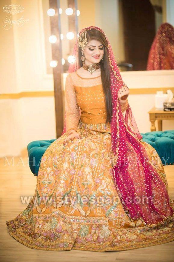 bcd14493f8 classy mastard color dress - Latest Bridal Mehndi Dresses Wedding Collection  (1)