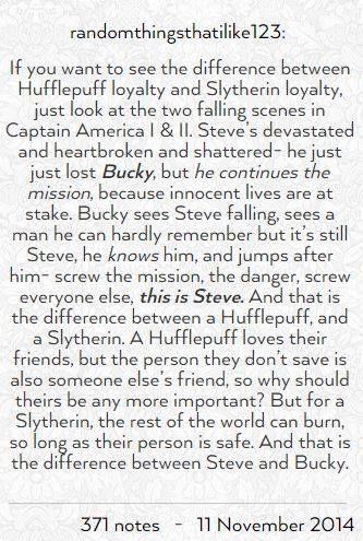 A fantastic description of Cap & Bucky's difference in loyalty, both loyal to each other but it is still different