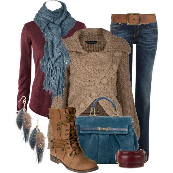 Casual Outfit - Granate y Marrón con vaqueros.