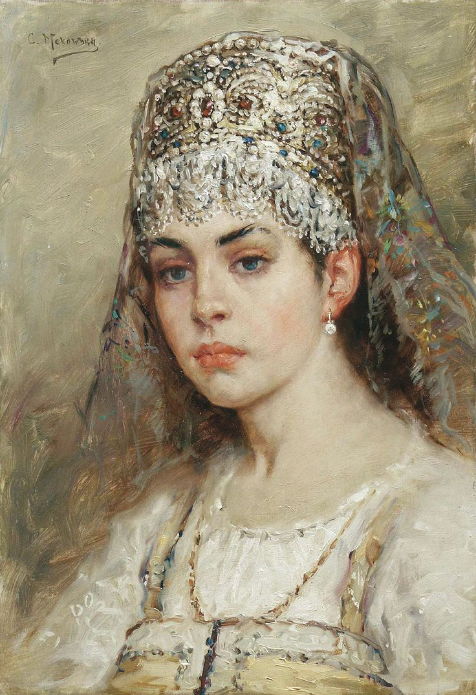 Konstantin Makovsky / Константин Егорович Маковский (b.Saint Petersburg, 1839-1915) - His Wife Maria Alexeyevna, Portrait of Makovskaya