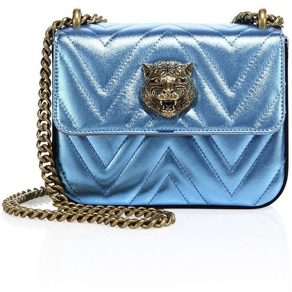 Gucci Metallic Chevron Leather Evening Bag (23.086.890 IDR) ❤ liked on Polyvore featuring bags, handbags, apparel & accessories, sky blue, leather handbags, metallic purse, evening handbags, metallic leather purse and metallic handbags