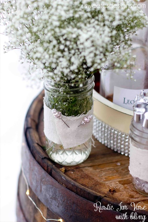 rustic jar vase with bling from david tutera bridal #wedding #rustic #michaels