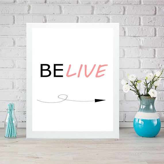 Belive instant print art inspiration yoga quote