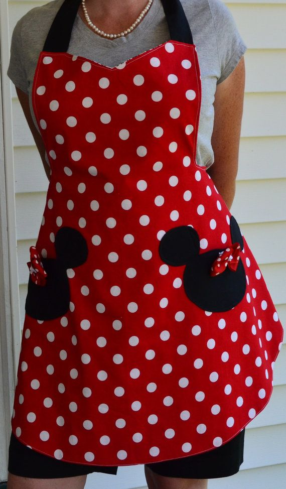 Minnie Mouse Apron, Inspired Minnie with Mickey Head Pockets