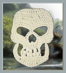 Pirate skull large applique crochet pattern (also includes how to make it into a traditional granny square) Crochet pattern @ Ravelry