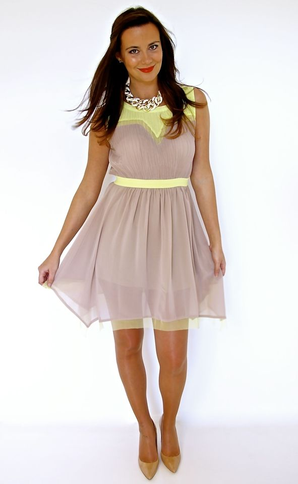 The MOB Style Giveaway  Beige Bicolor Dress