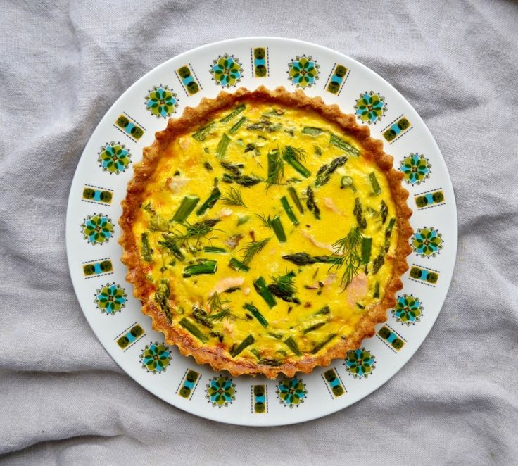 Asparagus & Salmon Quiche with a Cheddar Crust