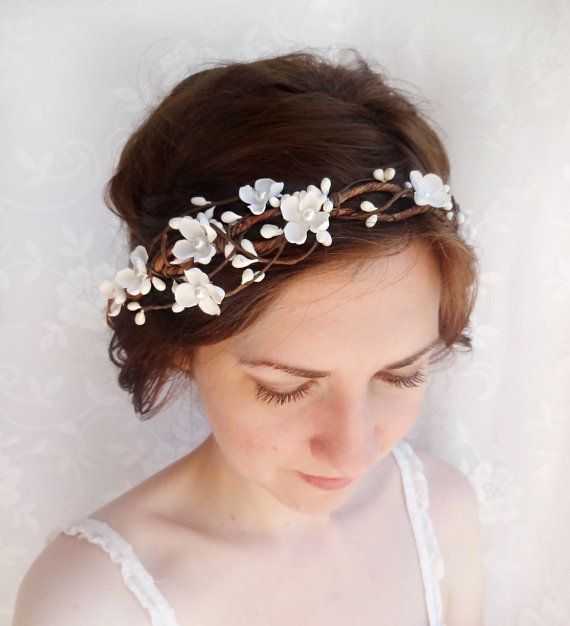 Flower Wedding Headpieces: Bridal Headband Flower Crown, White Flower Headband, Ivory