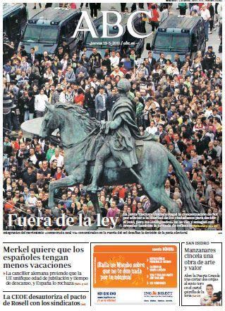 Portada de ABC tras protestas ciudadanas en Sol (Madrid)