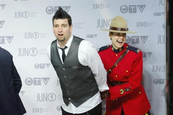 Mike Ayley of the band Marianas Trench arrives on the red carpet at Scotiabank Place in Ottawa for the 2012 Juno Awards April 1 , 2012.  Photograph by: Chris Mikula, The Ottawa Citizen
