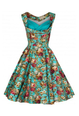 Lindy Bop Ophelia Turquoise Floral Spring Dress